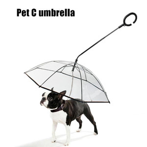 Walking Leash Transparent Pet Umbrella Dog Raincoat Household Set Handle Outdoor Animal Dogs Ornaments for Raining