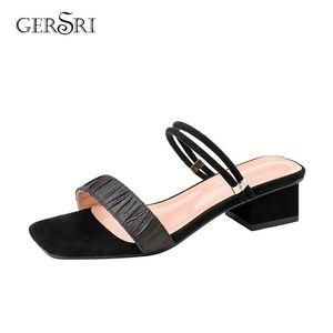Gersri New 2020 Summer Low-heel Women Sandals Slipper Daily 3.5cm Outside Slides For Female Open Toe Gladiator Shoes Womens