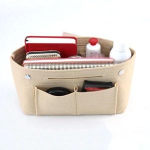 2020 New Arrival Women Portable Solid Color Felt Multi Pockets Cosmetic Handbag Storage Organizer Cosmetic Bags Cases
