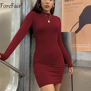 Forefair O Neck Khaki Black Long Sleeve Mini Women Solid Sexy Dress Casual Autumn Party Night Club Bodycon Dresses 2020
