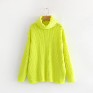 [EWQ] 2020 Spring Autumn New Pattern Turtleneck Collar Long Sleeve Solid Knitting Pulloveres Casual Sweater Women 19C-a117 J1202