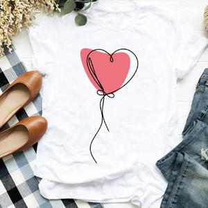Femmes Lady Balloon Love Heart Saint Valentin Cute 90s Style Imprimer Chemise T Tee pour vêtements pour femmes Tshirt T-shirt graphique Top