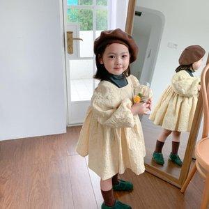 Agenti di acquisto della Corea del Sud 2020 Autunno New Style Girls Girls Goffing Vintage Dress Bambini Elegante Collare quadrato Principessa Networ
