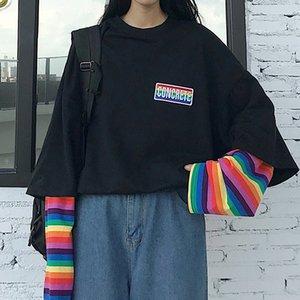 Fake Two Pieces Rainbow Stripes Women's Sweatshirts Patchwork Letter Long Sleeve Lady Tops 2020 Spring Korean Female Sweatshirt LJ201124