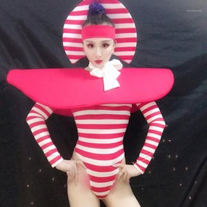 American Female Gogo DS DJ Jumpsuit Clown Cosplay Costume Exaggerated Theme Show Performance Dress Stripe Headdress Outfit 19861