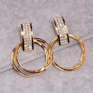 New Simple Design Personalized Earrings Brinco Gold Color Crystal Earring Big Metal Circle Drop Dangl