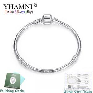 Bracelet de chaîne de charme Yhameni Fine 3mm Charms 925 Silver Bracelet Original Bracelet DIY Bijoux Saint Valentin Cadeau de la Saint Valentin PB005