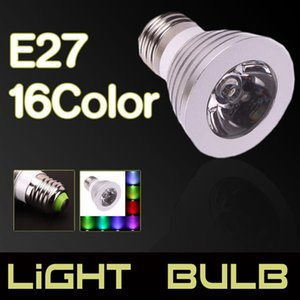E27 3W 85V-265V 16-color Remote Control Dimmable LED Spotlight New and high quality LED Spotlights Indoor Lighting free delivery