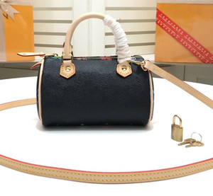 Nuevo color Speedy Mini Bolso de mano de alta calidad de cuero genuino de lujo bolso elegante mujer bolsas de hombro casuales