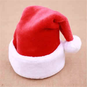 50pcs Christmas Hat Christmas Decoration Big Ball Thicken Santa Dress Up High-end Short Plush Christmas Cap for Adult and Child Z1128