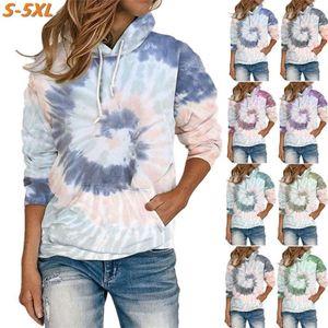 Mujeres con capucha Otoño 2020 Imprimir Sudadera Streetwear de gran tamaño Streetwear Poja Tiele Tinte Casual Shirt Sweatshirt Sweatshirt Tops