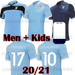 20 21 Jersey de football Lazio 2020 2021 Chemise de football anniversaire de lazio Luis Alberto Immobile Sergej Men Kits Enfants Maillot Maglia Da Calcio