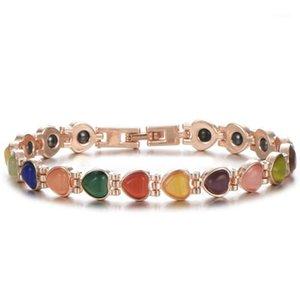 Moda Mulheres Jóias Cuidados de Saúde Ímã Inlay Chain Bracelete Coração Dourado Corte Pulseiras de Ténis Opal para Mulheres Gift Jewelry1