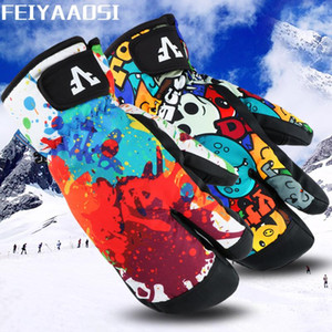 Winter Ski Gloves Cold Warm Gloves Three Fingers Adult Outdoor Riding Snowboard Waterproof Mountaineering Thickeni
