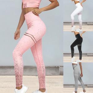2020 Hot Women Sexy Yoga Pants Black Mesh Leggings Pants Srtriped Printed Gym Leggings Slim Fitness High Waist Leggings Workout