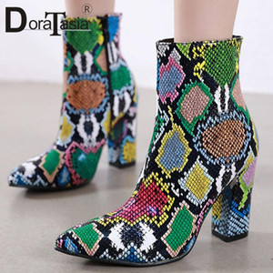 DORATASIA New Fashion Ladies Mixed Colors Boots Autumn Thick High Heels Ankle Boots Women 2020 Pointed Toe Zip Shoes Woman