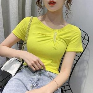 2020 New Summer Sexy V Neck Solid T shirt Women Cotton Tops Korean Clothes Slim Short Sleeve Shirt Camiseta Mujer Tees T01902