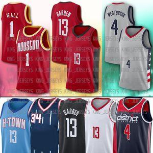 4 Russell 13 James Westbrook Harden Harden Hakeem 34 Houston Olajuwon 2021 NCAA Uomo New City Basketball Jerseys