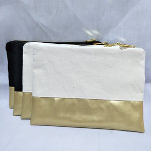 blank natural black canvas+gold PU patchwork makeup bag with gold zip matching color lining thick canvas cosmetic bag