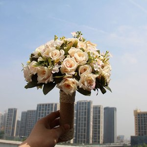 2021 Fairy Tale Wedding Bouquet Bride Holding Flowers Artificial Rose Peony Calla Lilies Fake Leaves Flowers Home Party Decorations AL7919