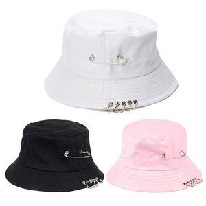 Unisex Harajuku Punk Cotton Personality Bucket Hat Metal Pin O-Ring Solid Color Wide Brim Foldable Hip Hop Fisherman Cap
