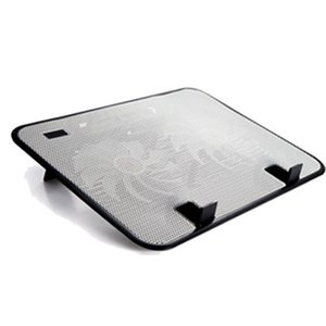 "Metal Panel Dual Fan Notebook Cooler Silent Laptop Cooling Pad Stand for 14"" PC"