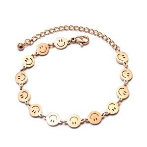 Titanium Steel Smile Funny Bracelet Happy Expression Chain Link Bracelets For Women Men 316 Stainless Steel Smiley Bangle Y1119