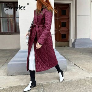 Simplee Cotton padded long winter coat female Casual pocket sash women parkas High street tailored collar stylish overcoat 201120