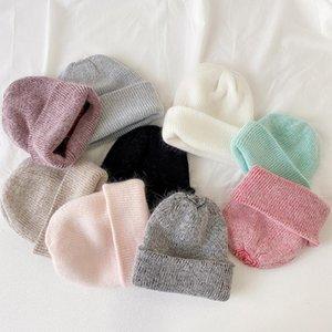 Women knitted Winter Hat female Warm fur beanie Girls Solid Bonnet women Skullies beanies Soft Hats wool beanies