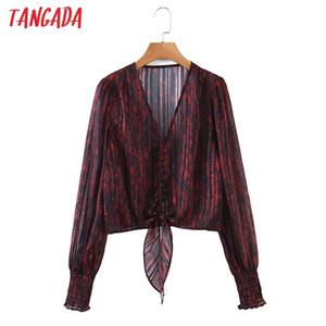 Tangada Frauen Retro Leopard Print Crop Hemd Bogen Langarm Chic Weibliche Sexy Hemd Tops Sl181