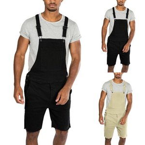 2020 New Mens Casual Retro Denim Bib Overall Shorts Pants Summer Autumn Solid Jeans Jumpsuit For Male Rompers Plus Size