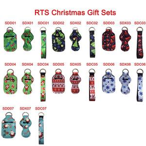 30ML Christmas Hand Sanitizer Bottle Holder Keychain Bags Chapstick Holder Neoprene Wristlet Hand Soap Holder Christmas Decor HH9-3638