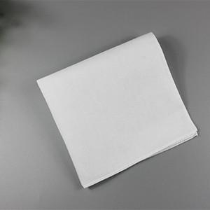 Pure White Hankerchiefs 100% algodão Handkerchiefs mulheres homens 28cm * 28 cm Pocket Square Wedding Plain DIY Imprimir Hankies GWC3932