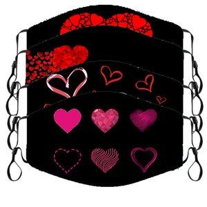 Nuovo prodotto transfrontaliero San Valentino per amore maschera in cotone stampata inverno calore invernale e protezione a freddo coppia di moda maschera di stoffa per adulti
