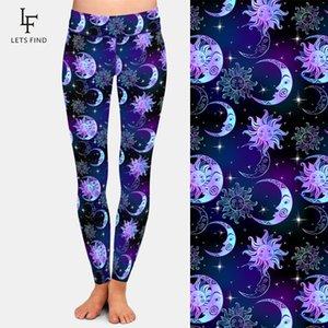 Letsfind linda noite céu sol lua e estrelas impressão digital mulheres leggings cintura alta plus tamanho fitness estiramento calças 201204
