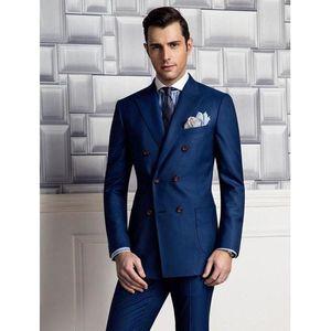 Navy Blue Men Suits Groom Tuxedos Bridegroom Suits Groomsman Jacket+Pants Prom Custom Made A0187