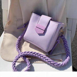 Hemp rope shoulder strap PU Leather Sac A Main Femme purple Crossbody Bags For Women 2020 Summer Small Shoulder Handbags Female