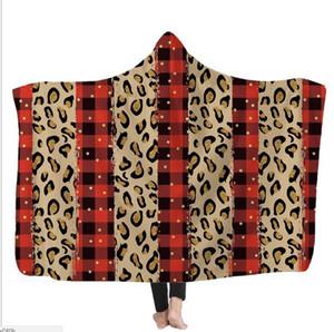 Kids Hooded Blankets 3D Leapard Printed Cape Santa Clause Xams Blanket Sea ShippingWashable Warm Bed Velet Fleece Throw Blanket SEA DDC3862