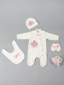 Baby rompers girls boys newborn clothes 5 pcs set hat shoes gloves bib clothing cotton babies types for newborn varieties models 201201