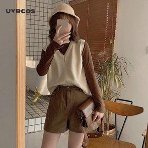 UVRCOS autunno maglione senza maniche donne dolci colore solido con scollo a V maglia allentata senza maniche slim mastina maglioni tirano femme maglioni