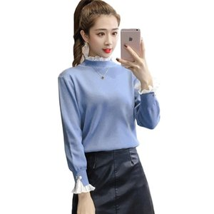 Women Sweater Pullover 2020 Autumn Winter New Fashion Ruffle Half Turtleneck Sweater Long Sleeve Fake Two Knitwear Female Tops