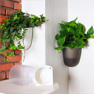 large size Self Watering Plant Flower Pot Wall Hanging Wall corner Plastic Planter Basket Garden Supply Home Garden with Hooks Q1123