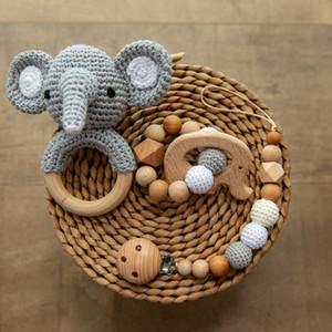 3 pçs / lote bebê chocalho animal crochet anel de madeira brinquedos bebê mordezas para bebês produtos DIY artesanato dentição chocalho amigurumi toysq1221