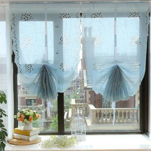 Light Blue  Beige White Handmade Cherry Blossoms Bouquet Pattern Hollow Embroidered Tulle Sector Lacing Roman Curtain