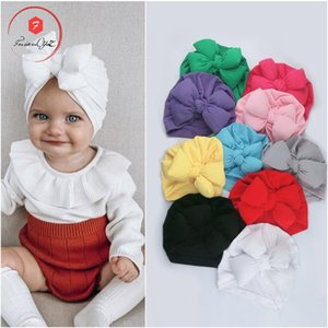 2020 New Style Europe and America Infant Set of Head Cap Baby Fat Bow Cap Children Solid Color Knot India