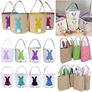 Easter Basket Bunny Tote Bag Rabbit Tail Buckets Easter Handbag Kids Gift Bag Happy Easter Decoration