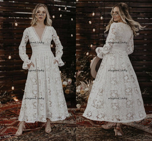 Vintage Flowing Ankle-length Wedding Dresses 2021 Retro Full Crochet Cotton Lace Long Sleeve Bohemian Mountain Bride Gowns