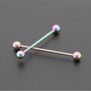 1pc multifonctionnel industriel corps de piercing bijoux 14g 16g en acier inoxydable longue langue droite piercing nipple anneau h wmtaxb dayuphop