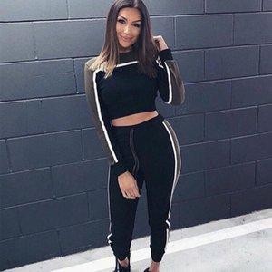 Retro Women Long Sleeve Tracksuits Sport Lounge Wear High Waisted Tracksuit Active Wear Ladies Gym Clothes Plus Size 2pcs Set