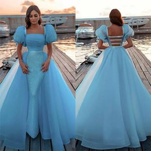 Chic Mermaid Prom Dresses With Detachable Train Glitter Sequins Formal Party Gowns Light Sky Blue Vestidos De Fiesta Modern Evening Dress